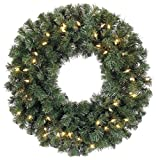 30in Artificial Balsam Christmas Wreath With LED Lights & Timer (Small Image)