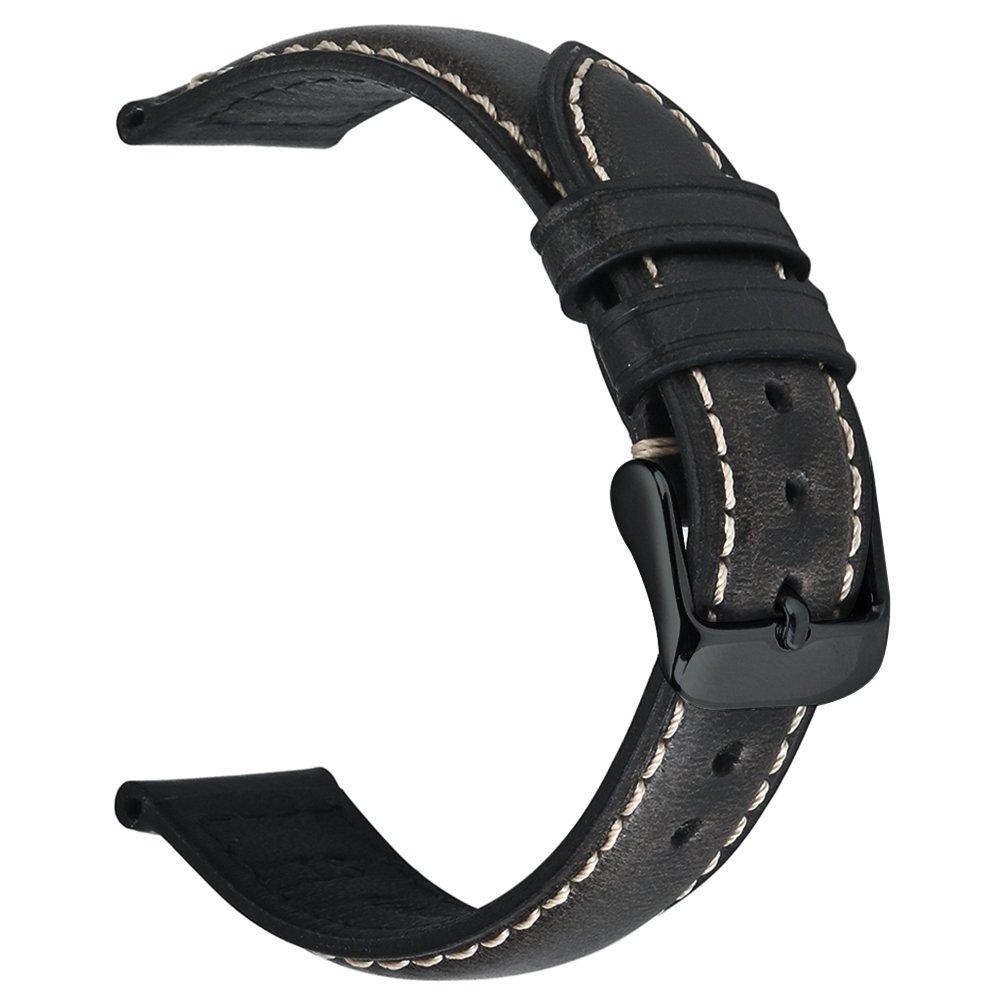 EACHE 20mm 22mm 24mm オイルタン/クレイジーホース/ベジタブルタンレザー 交換用腕時計バンド 24mm ブラック 24mm|ブラック ブラック 24mm B0732YWDCJ