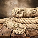 50m jute rope 6mm twisted 3-strand natural - different sizes and lengths
