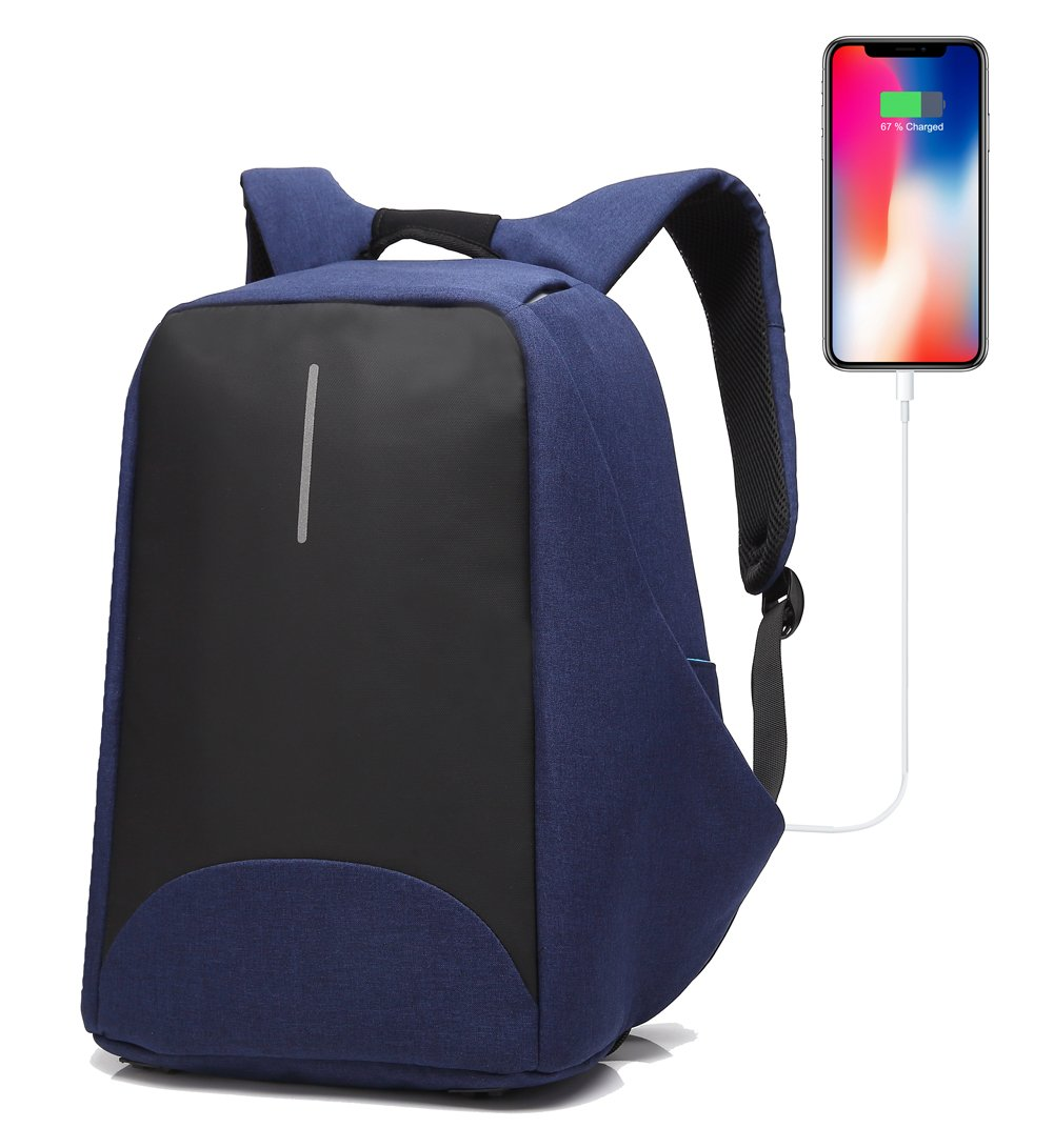 e028473bd953 Amazon.com  Anti-Theft Business Laptop Backpack with USB Charging Port Fits  to 15.6 Inch Computer Lightweight Water-Resistant Knapsack Blue2 CB0408  ...