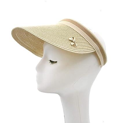 0b6ef40230780 Amazon.com  Monrocco Cute Bow Sun Hat Straw Sun Visor Wide Brim Casual Beach  Hat Summer Sun Hat for Women  Home   Kitchen