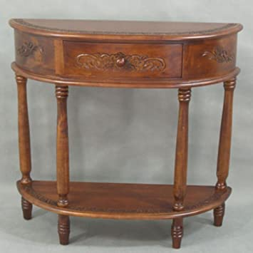 High Quality International Caravan 3867 IC Furniture Piece Carved Half Moon Wall Table