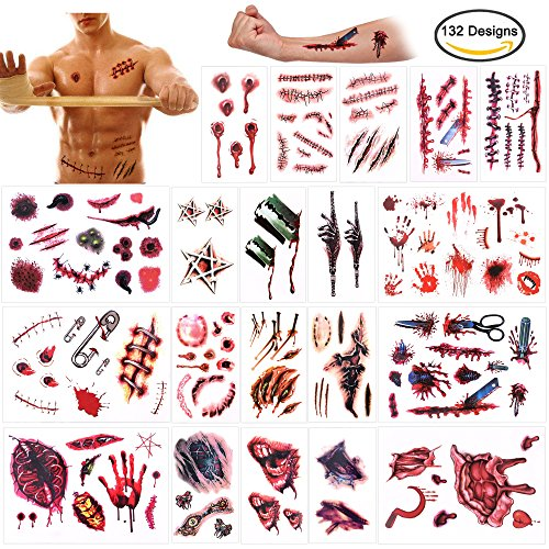Halloween Temporary Tattoos (132Designs), Konsait Scar Wound Blood Bleeding Tattoo Stickers for Halloween Party Cos Play Costume , Waterproof Easy to Apply Long Lasting Fake Tattoos for Women Kids (Easy And Quick Halloween Costumes)