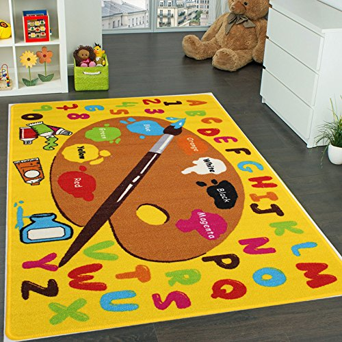 Kids Rug Kids ABC Little Artist area rug Educational Alphabet Letter & Numbers (8 x 11) by Mybecca