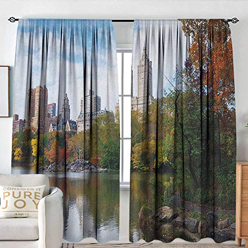 - Blackout Curtains for Bedroom/Living Room City,Manhattan Central Park Panorama in Autumn Scenic Lake View Colorful Trees Reflection, Multicolor,Insulated Draperies for Office Nursery 84