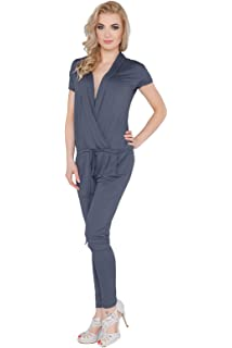 Party Jumpsuit With Pockets Short Sleeve Boat Neck Playsuit Sizes 8-18 FM07