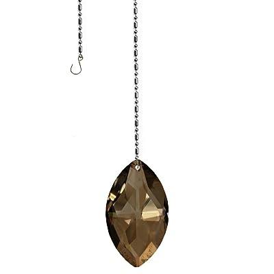 Swarovski Crystal 50mm (2'') Golden Teak Lead Free Oval Sun Catcher Austrian Crystal with Certificate : Garden & Outdoor
