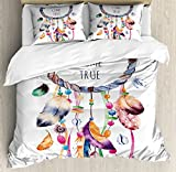 Feather King Size Duvet Cover Set by Ambesonne, Ethnic and Tribal Native American Dream Catcher Illustration Bohemian Style Image, Decorative 3 Piece Bedding Set with 2 Pillow Shams, Multicolor