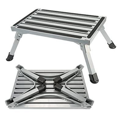 Step Stool Folding Aluminum RV Step Platform with Anti-slip Surface Sturdy Lightweight Maximum Load is 550 LB Perfect as RV Motorhome Trailer SUV Camper Extra Step by NORDSD: Kitchen & Dining