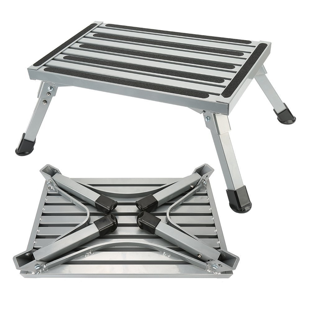 Step Stool Folding Aluminum RV Step Platform with Anti-slip Surface Sturdy Lightweight Maximum Load is 550 LB Perfect as RV Motorhome Trailer SUV Camper Extra Step by NORDSD by Anordsem