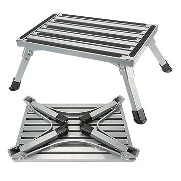 Stupendous Step Stool Folding Aluminum Rv Step Platform With Anti Slip Surface Sturdy Lightweight Maximum Load Is 550 Lb Perfect As Rv Motorhome Trailer Suv Creativecarmelina Interior Chair Design Creativecarmelinacom