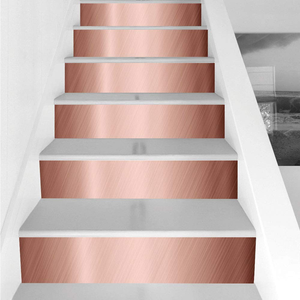 Stair Stickers Wall Stickers,6 PCS Self-Adhesive,Copper Decor,Abstract Smooth Alloy Surface Image Diagonal Lines with Reflection,Bronze Light Bronze,Stair Riser Decal for Living Room, Hall, Kids Room