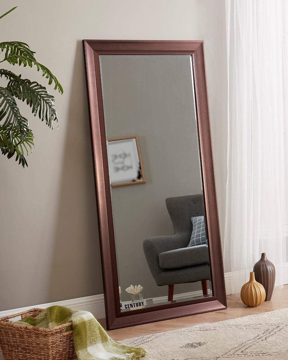 Naomi Home Framed Bevel Leaner Mirror Black//66 x 32