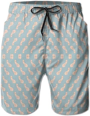 Hockey Equipment Pattern Mens Lightweight Beach Shorts Quick Dry Pockets Swim Trunks