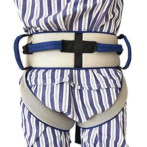 (HUANGYUAN Gait Belt with Leg Loops and 6 Caregiver Hand Grips, Help Assistant Rehabilitation, Medical Transfer Belt with Leg Strap, Patient Lift Sling Blue)