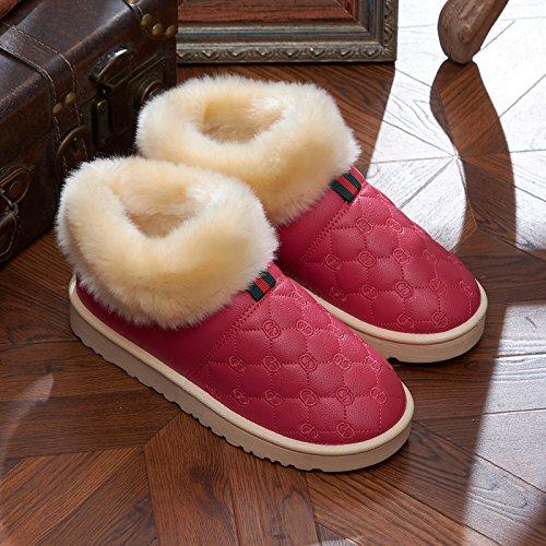 Inverno fankou capelli con una pelle impermeabile paio di pantofole di cotone uomini e donne indoor e outdoor indossare caldo antiscivolo home spessa, 36 per l'usuale 35-36 piedi, rose red