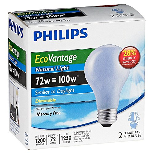 Philips 72W 120V A19 Natural Light Halogen Bulb