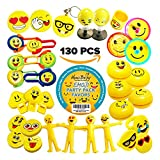 Party Favors for Kids - EMOJI 130 PC Toys Assortment Pack – Bulk Emoticon Party Supplies for Birthday Goody Bags, Games Prizes, Pinata Fillers, Toy Chests