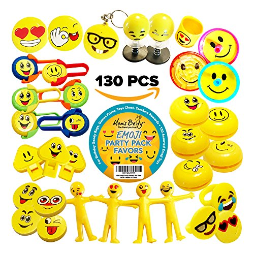 Party Packs Favors for Kids - 130 Pc EMOJI Toy Assortment for Boys and Girls - Bulk Emoticon Small Toys for Birthday Goody Bags, Games Prizes, Pinata Fillers, Toy -