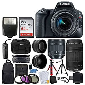 61ekOYO1KPL. SS300  - Canon EOS Rebel SL2 DSLR Camera + EF-S 18-55mm IS STM + EF 75-300mm III + 64GB Memory Card + Wide Angle & Telephoto + RS…