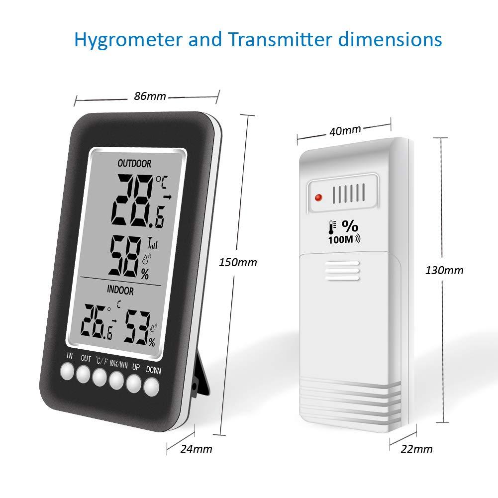 Oacvien Termometro Igrometro Digitale Interno Esterno Stazione/Meteorologica Wireless con Ampio Display LCD Sensore Esterno Alarmfunktion Max//MIN Record per Misura di Casa Ambiente