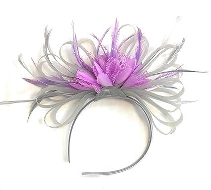 c8a3eda78972f Silver Grey and Lilac Light Purple Net Hoop Feather Hair Fascinator  Headband Wedding Royal Ascot Races  Amazon.co.uk  Clothing