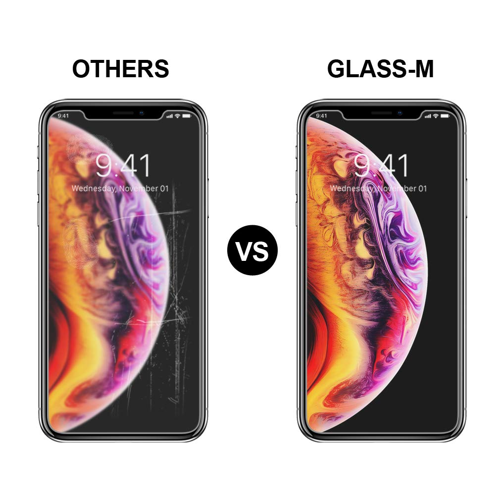 GLASS-M [2 Pack] Tempered Glass Screen Protector Compatible with iPhone XS Max 6.5 inch, [Not Full Cover] Case Friendly Screen Protector Film