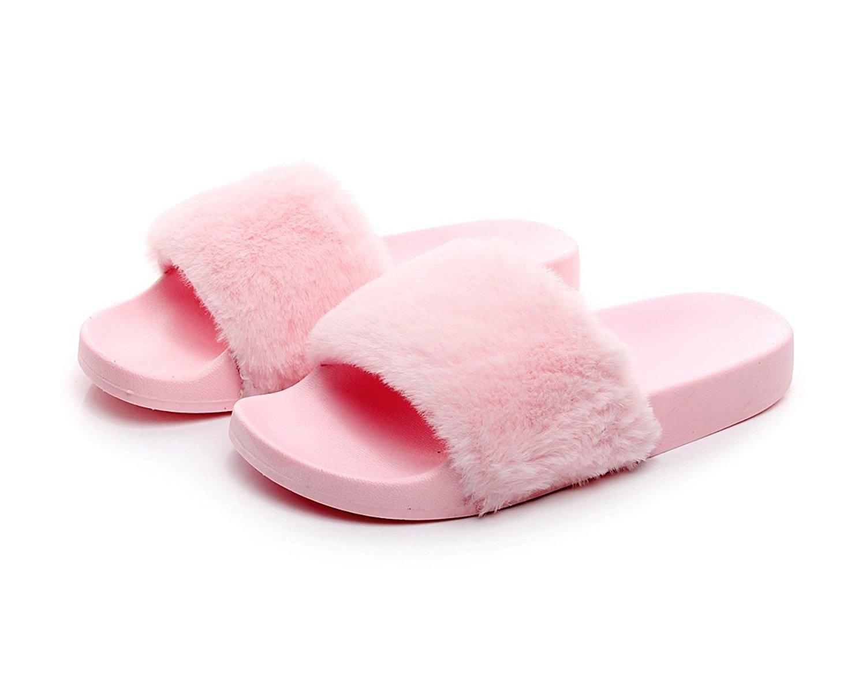 Charles Albert Women's Soft Faux Fur Marabou Flat Slide Sandal (10, Blush)