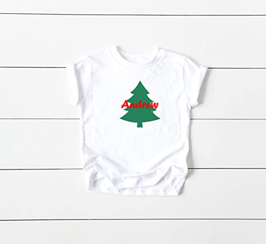e6a4745f Amazon.com: Kids Personalized holiday festive Christmas Tree T-shirt:  Handmade
