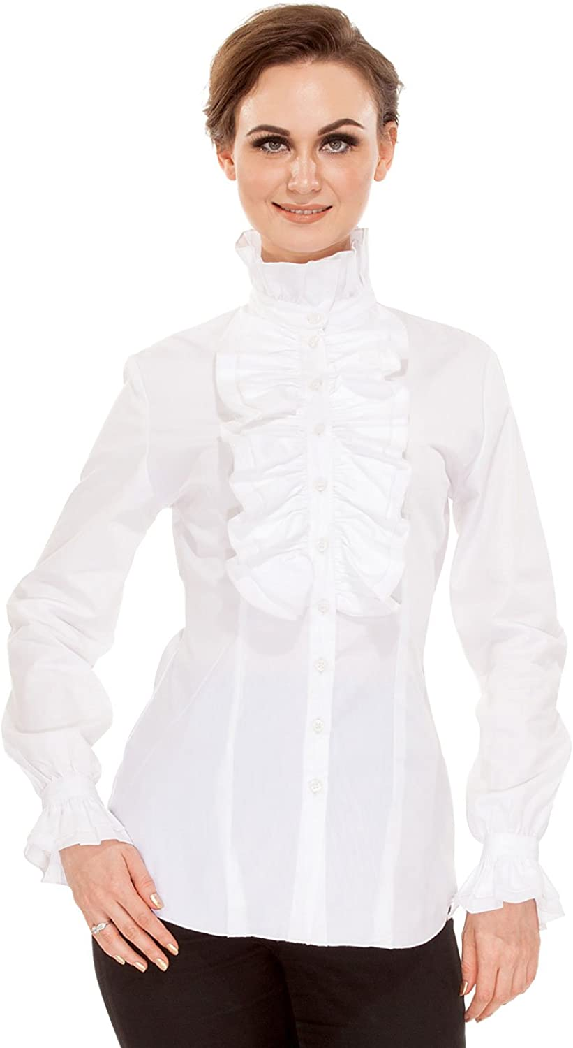 Cottagecore Clothing, Soft Aesthetic ThePirateDressing Steampunk Gothic Victorian Cosplay Costume Womens Stand-Up Collar 100% Cotton Blouse Shirt $41.95 AT vintagedancer.com