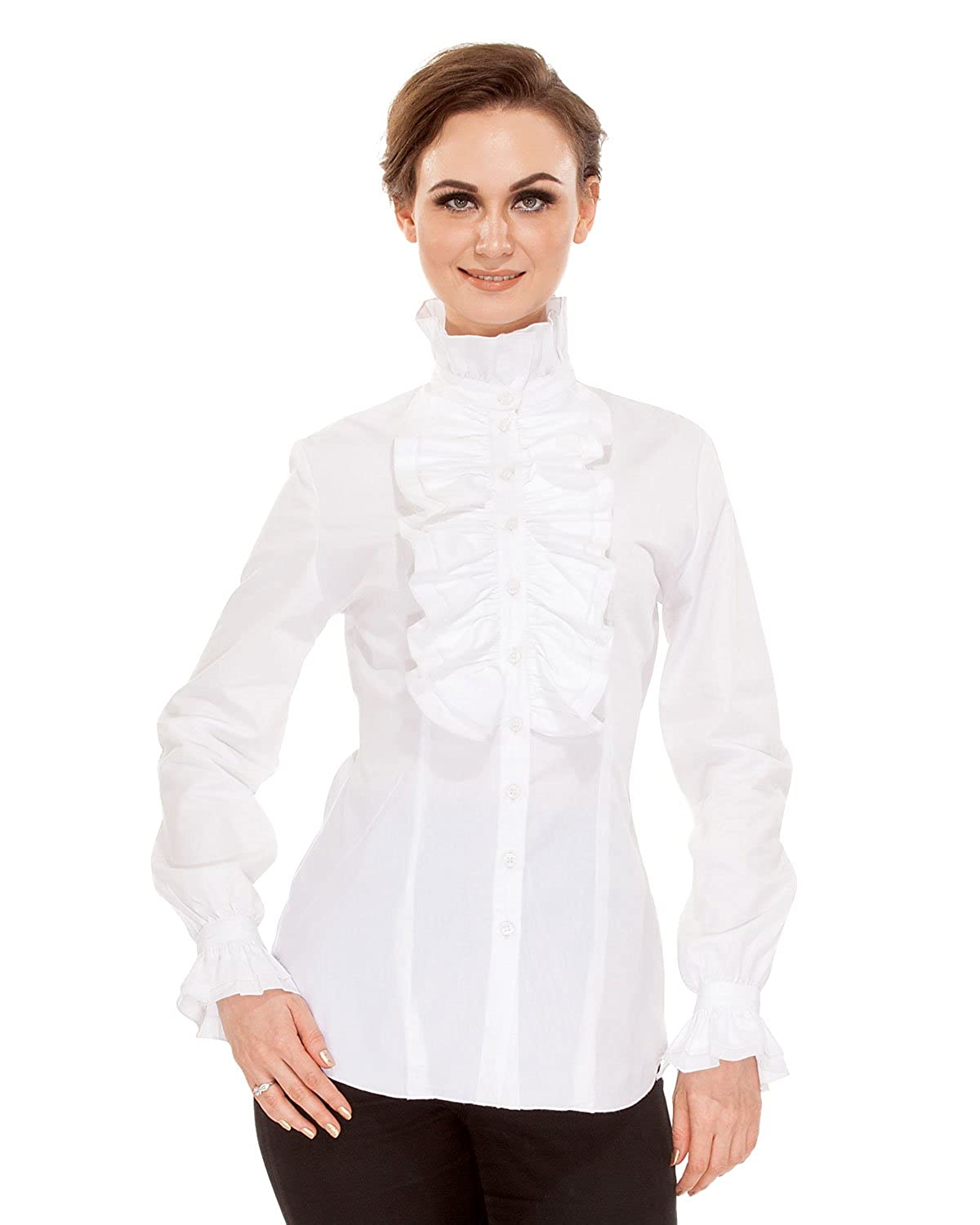Edwardian Blouses | White & Black Lace Blouses & Sweaters ThePirateDressing Steampunk Gothic Victorian Cosplay Costume Womens Stand-up Collar 100% Cotton Blouse Shirt $37.95 AT vintagedancer.com