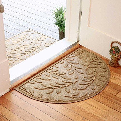 Weather Guard Brittney Leaf 24-Inch x 39-Inch Half Oval Door Mat (CAMEL)
