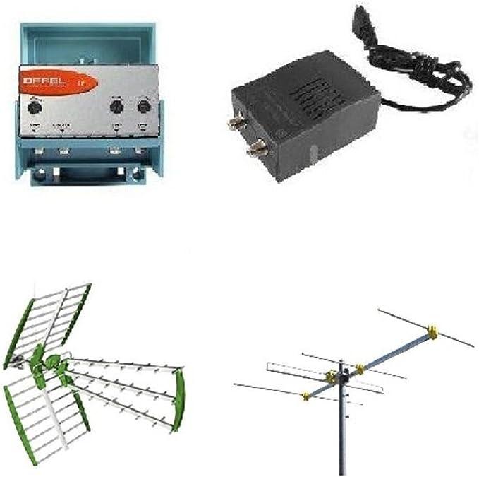 Kit antena digital terrestre DVBT UHF+VHF 4 elementos HD+ amplificador y fuente de alimentación