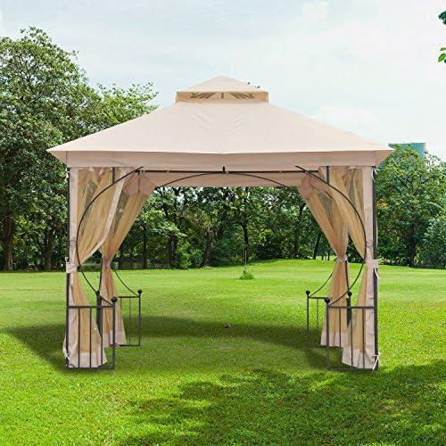 Outsunny – Elegante cenador de jardín, pérgola con techo transpirable, de metal y poliéster, beis, 300 x 300 cm: Amazon.es: Hogar