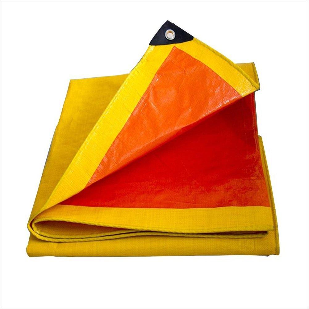 LQQGXL Plane, im Freien Wasserdichte Plane doppelseitiges feuchtigkeitsdichtes Frachtstaubtuch, Hochtemperaturanti-Altern, Gelb + Orange Wasserdichte Plane
