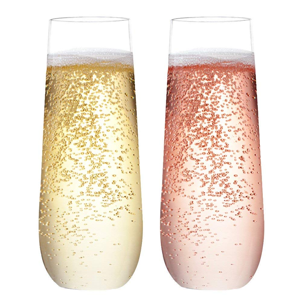 BAKHUK 24 pack 9oz Plastic Champagne Flutes Recyclable Stemless Champagne Glasses for Cocktail,Mimosa Bar,Wedding Toasting