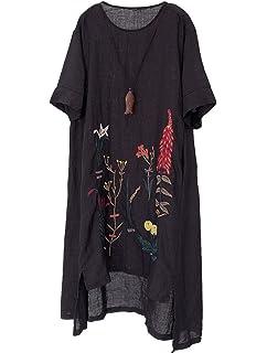 29d0fdc0ff Minibee Women s Embroidered Linen Dress Summer A-Line Sundress Hi Low Tunic  Clothing