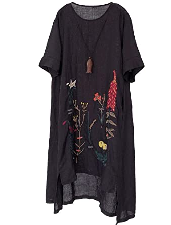 a53294c12bf Minibee Women s Embroidered Linen Dress Summer A-Line Sundress Hi Low Tunic  Clothing Black M