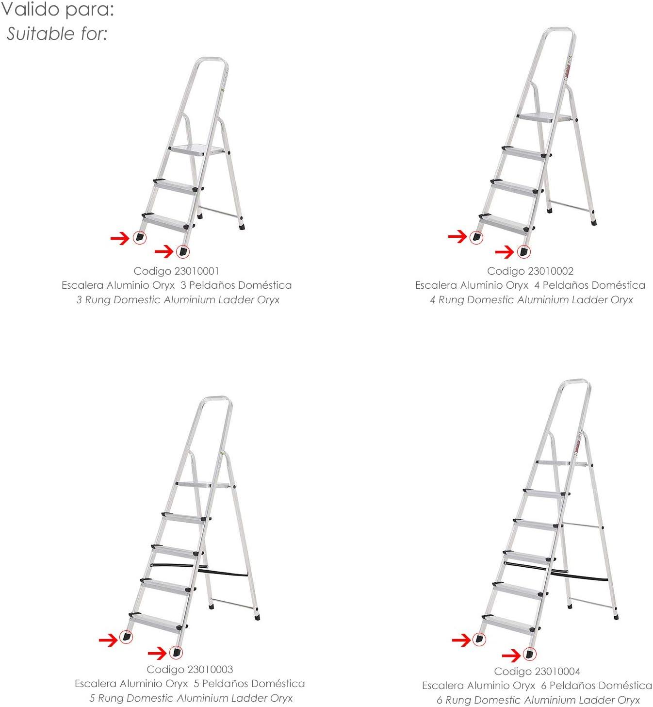 ORYX 23010055 Contera Escaleras Aluminio Delantera de 3 a 6 Peldaños, Negro: Amazon.es: Bricolaje y herramientas