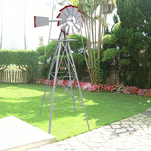 New 8Ft Tall Windmill Ornamental Wind Wheel Silver Gray And Red Garden Weather Vane by Windmills & Wind Spinners (Image #1)