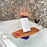 Ultimate Bamboo Bathtub Caddy Wood Tray Table with Non Slip Extending Sides, Wine Glass Holder & Waterproof Reading Rack Perfect for Kindles, Smartphones & Tablets! (+BONUS STORAGE POUCH+)