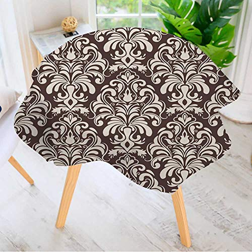 (Leighhome Circular Table Cover Washable Polyester- Vector Damask Seamless Pattern Background Elegant Luxury Texture for Wallpapers Stain Resistant Wrinkle Free Dust Table Cover 55