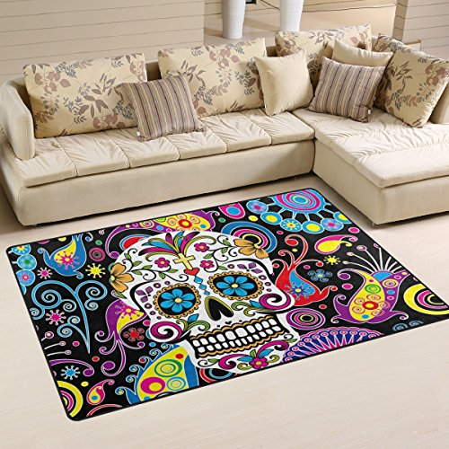 Naanle Floral Skull Area Rug 3'x5', Colorful Paisley Flower Polyester Area Rug Mat Living Dining Dorm Room Bedroom Home Decorative