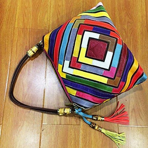 Leather Crossbody Tote Women's Shoulder Diamond Yjiujiu Shaped Bag Colorblock qCwTS5