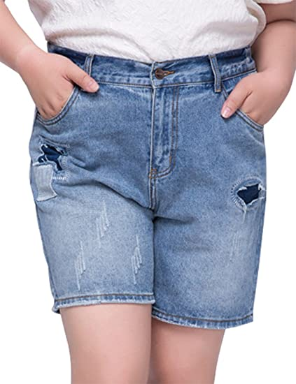1ad185f8d47 IDEALSANXUN Women s Casual Plus Size Loose Bermuda Denim Jeans Shorts