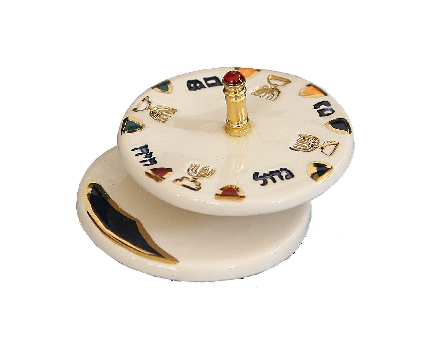 Judaica Hanukkah Chanukkah Dreidel Ceramic Colorful With Gold Plated Handle Design , Spinning Top. Hand Made By The Renown Artist Eran Grebler . Size: 3.0'' x 1.65''
