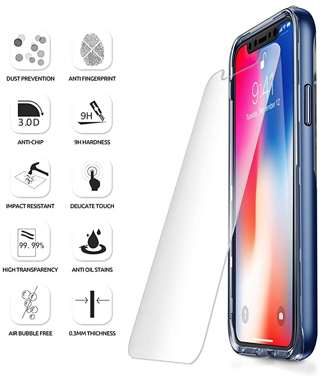 amazon com iphone x screen protector poetic full coverage hd clear case friendly anti fingerprint premium edge to edge tempered glass screen
