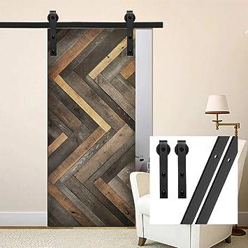 gifsin 4FT/122cm Herraje para Puerta Corredera Kit de Accesorios para Puertas Correderas,Negro J-Forma: Amazon.es: Bricolaje y herramientas