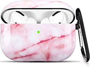 Airpods Pro Case - LitoDream Pink Marble Protective Hard Case Cover Skin Portable & Shockproof Women Girls with Keychain for Apple Airpods Pro Charging Case (Pink Marble)
