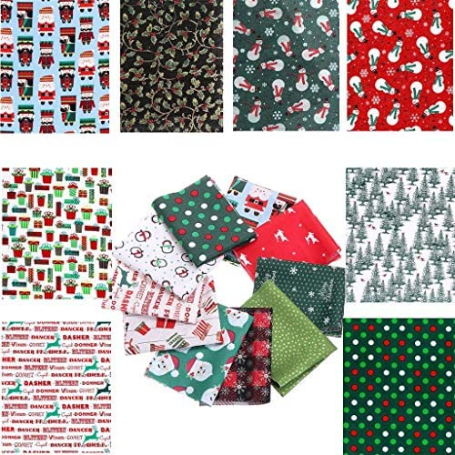 OBANGONG 20PCS Christmas Cotton Craft Fabric Bundles Quilting Sewing Fabric Scraps with Christmas Patterns Cotton Patchwork,Style Random